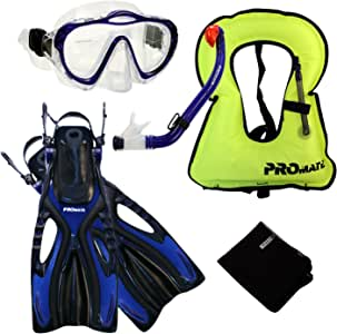 Promate Junior Snorkeling Vest Scuba Diving Mask Dry Snorkel Fins Set for Kids