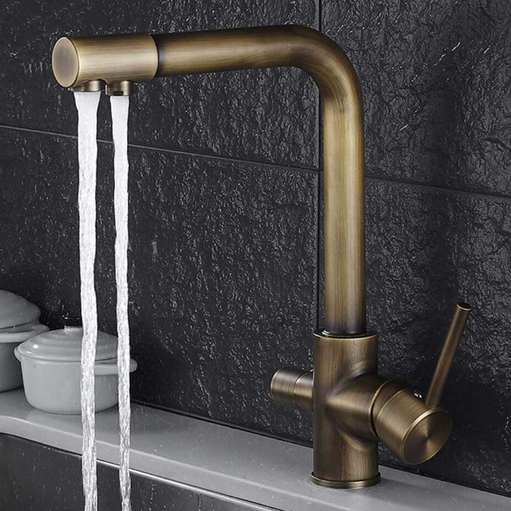 TLS 3 Way Water Filter Taps Kitchen Sink Mixer Tap Pure Drinking Water Brass Faucet with Swivel Spout,2 Handles,Antique Brass