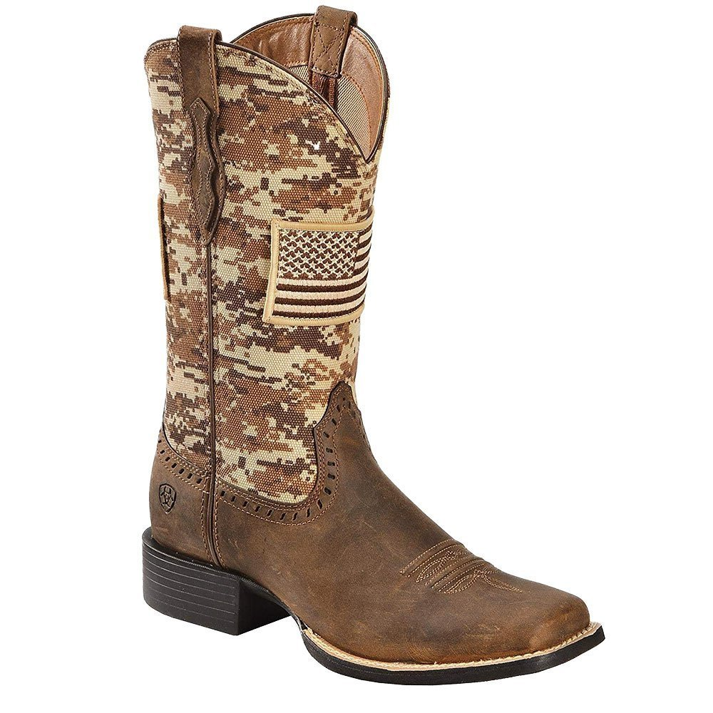 Ariat Women's Round up Patriot Boot B079RQ89BJ 8 M US|Foothil Brown/Turquoise Camo Print