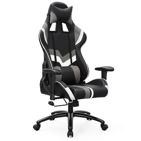 ArmlehnenInklusiv Rcg27bw Und Gaming Chefsessel Stuhl Bürostuhl Songmics Mit Weiß LendenkissenSchwarz Kopfkissen jqMGVSLzUp