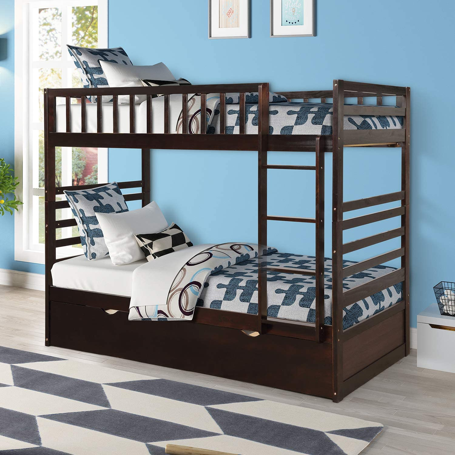 Twin Over Twin Bunk Bed, Hinipa Space Saving Design Bedroom Furniture Solid Wood Bunk Beds with Trundle, Ladder and Safety Rail for Boys, Girls, Kids, Teens and Adults Espresso