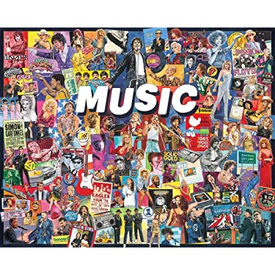 White Mountain Music 1000pc Large Entertainment Educational Wooden Jigsaw Puzzle: Toys & Games