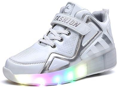 Hoch oben Kinder Junge Mädchen LED Schuhe mit Rollen Herren Skateboard Rollschuhe Damen mit ein Rad 7 Farbe Farbwechsel Sneaker Wanderschuh f9JWeAJsV