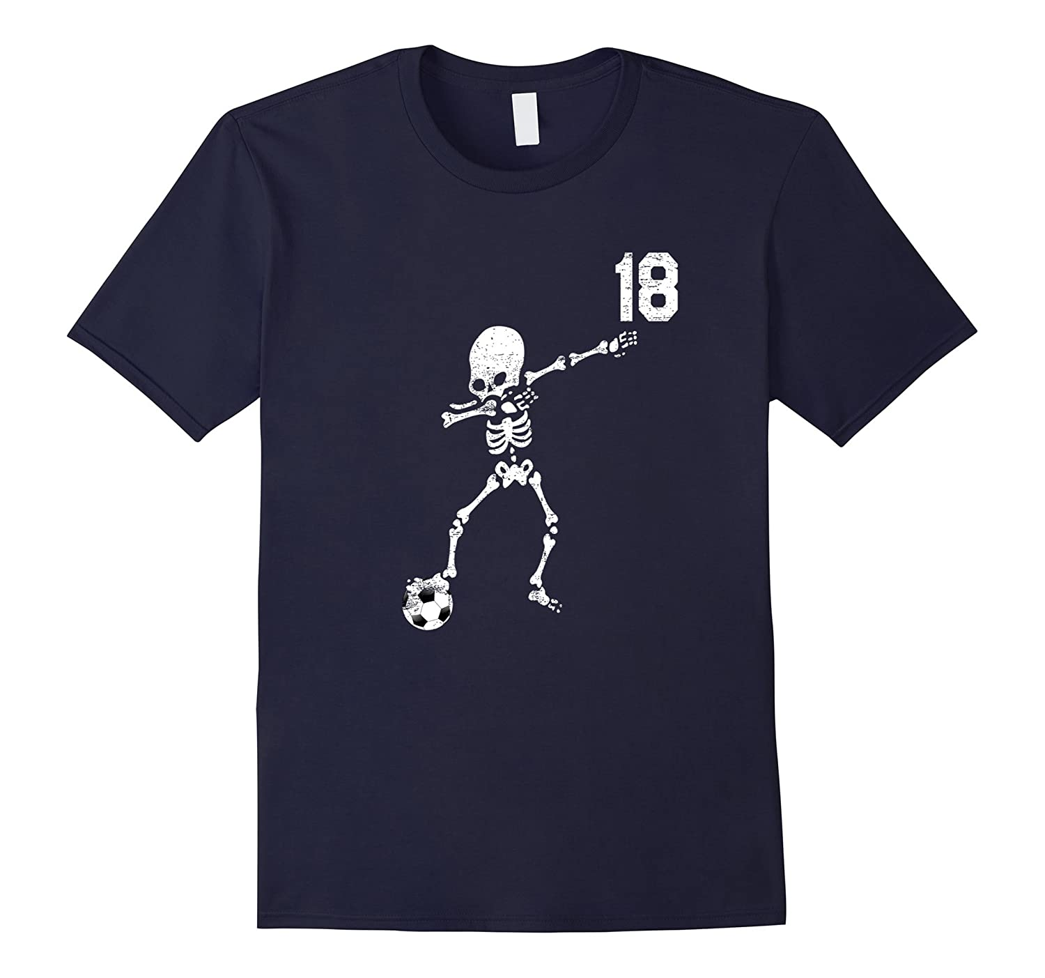 #18 Soccer Ball Skeleton Dabbing Funny Halloween Dab Tshirt-Rose