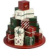 Decorazione natalizia - Calendario dell'avvento in legno a forma di pila di regali