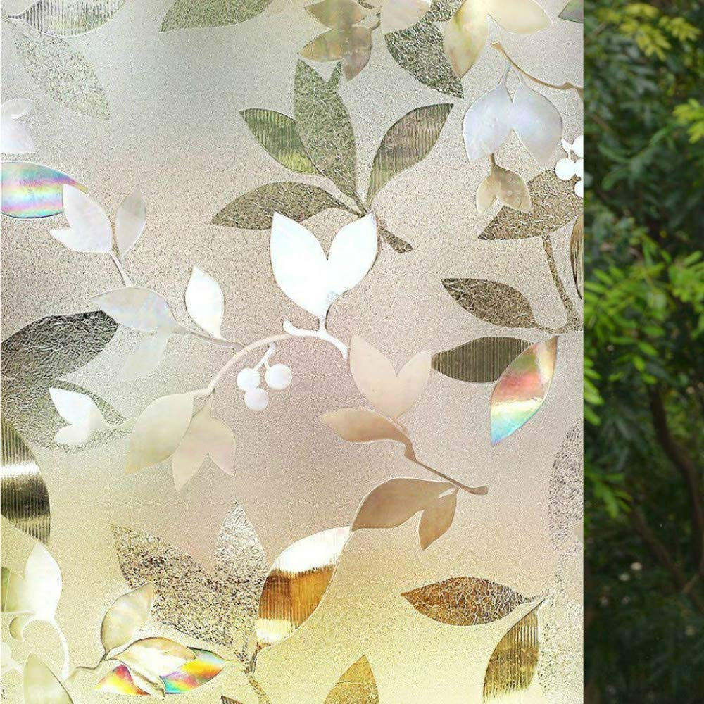 Menney No Glue 3D Static Decorative Leaf Frosted Window Films Privacy Film for Glass Door Heat Control Anti UV Upgrade Version weizemaoyi x 78.7in 23.6in