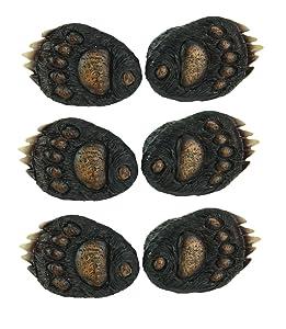 6PC Set Animal Tracks Rustic Black Bear Paw Drawer Pulls