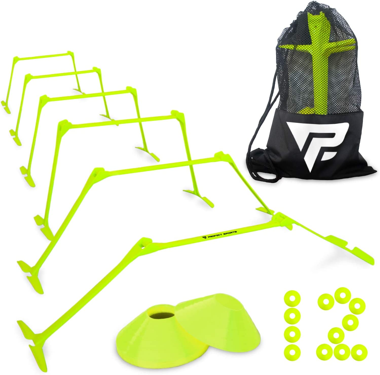 """Pro Adjustable Hurdles and Cone Set – 6 Agility Hurdles (6"""", 9"""" or 12"""" Height) with 12 Disc Cones for Soccer, Sports, Plyometric Speed Training – Includes Carry Bag & 2 Agility Drills eBooks (Yellow) : Sports & Outdoors"""