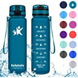 KollyKolla Sports Water Bottles 32oz,27oz,17oz,12oz,Reusable Plastic Water Bottle with Time Marker and Filter, BPA Free…