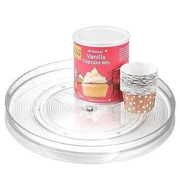 InterDesign Linus Organizador de armarios de cocina, plato giratorio mediano en plástico, estante giratorio, transparente: Amazon.es: Hogar