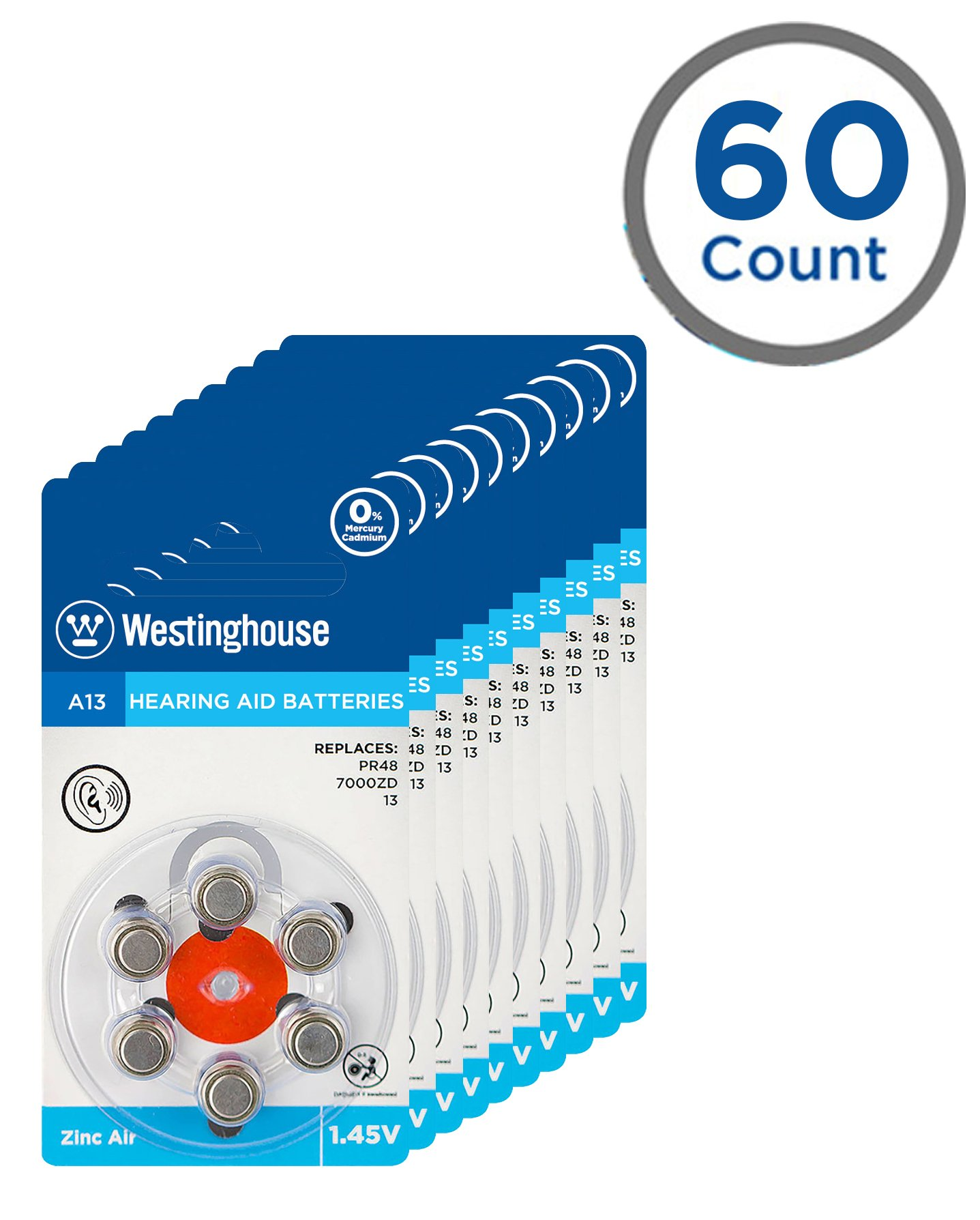 Westinghouse Hearing aid Battery A13, Zinc Air Batteries, Mercury Free (A13, 60 Counts)