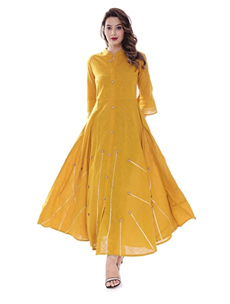 attractive colour new selection wide selection BS EXPORTS Long Mustard Yellow Gown With Gotta Lace And Button Detailing