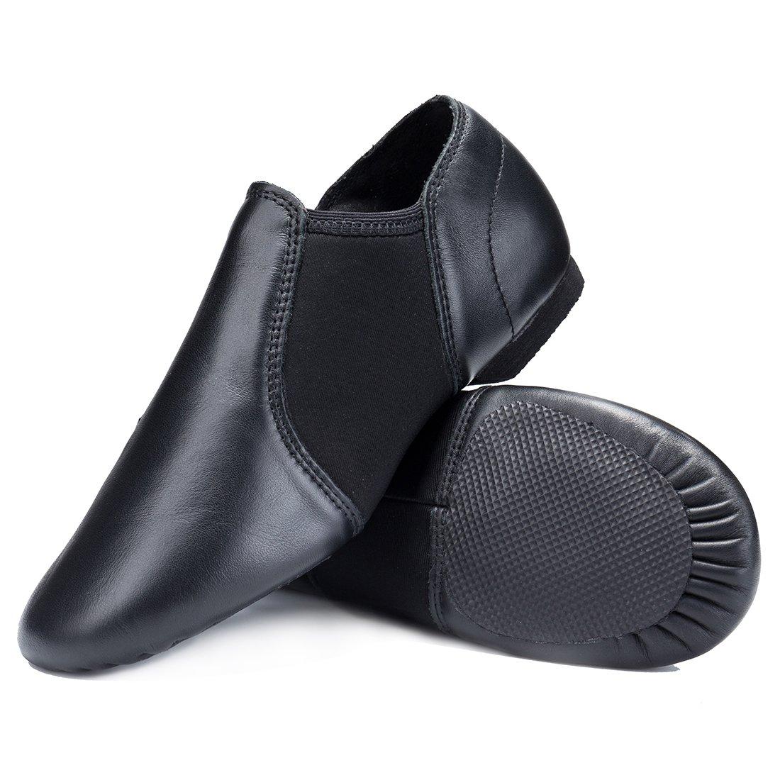 STELLE Leather Slip-on Jazz Shoes for Girls Boys Kids (Little Kid 12.5M US, Black)