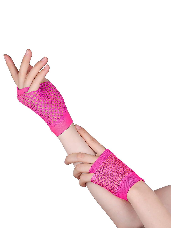 Blulu 80s Lace Headband Neon Earrings Fingerless Fishnet Gloves for 80s Party