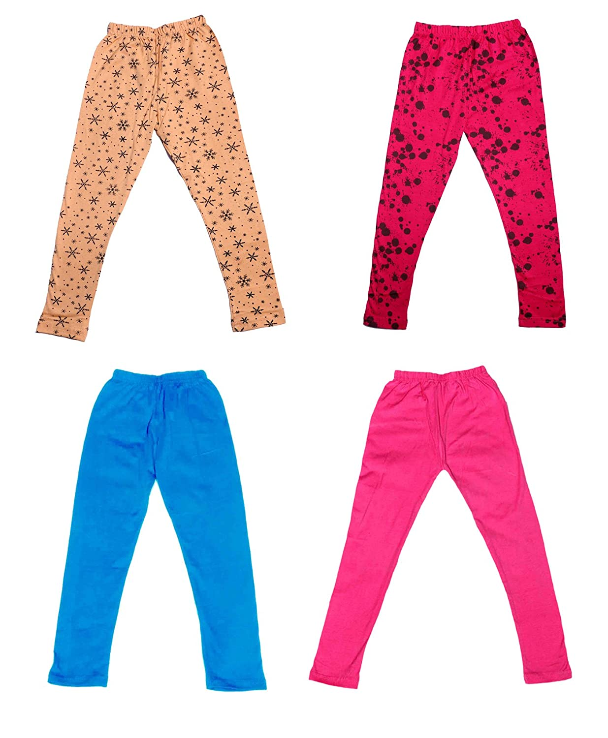 /_Multicolor/_Size-7-8 Years/_71411121920-IW-P4-30 Pack Of 4 and 2 Cotton Printed Legging Pants Indistar Girls 2 Cotton Solid Legging Pants