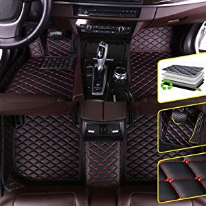Custom Car Floor Mats for Dodge RAM 1500 2011-2017 Waterproof Non-Slip Leather Carpets Automotive Interior Accessories 1 Set Black & red