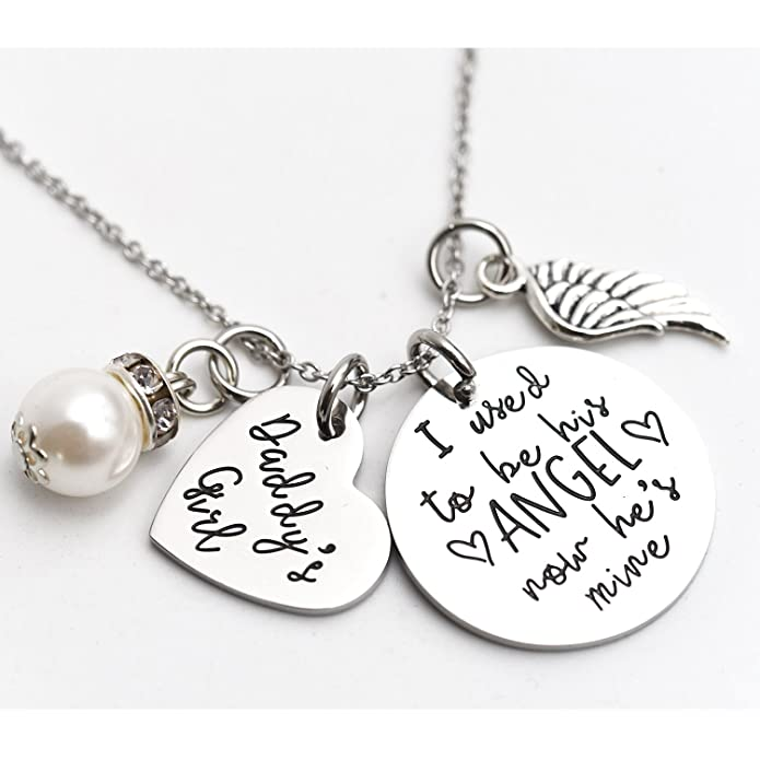 I Used To Be His Angel Now He's Mine Angel Necklace Wing Heart Charm Memorial Jewelry Smpathy Gift Loss Of Dad Father Funeral Gifty qgDI5