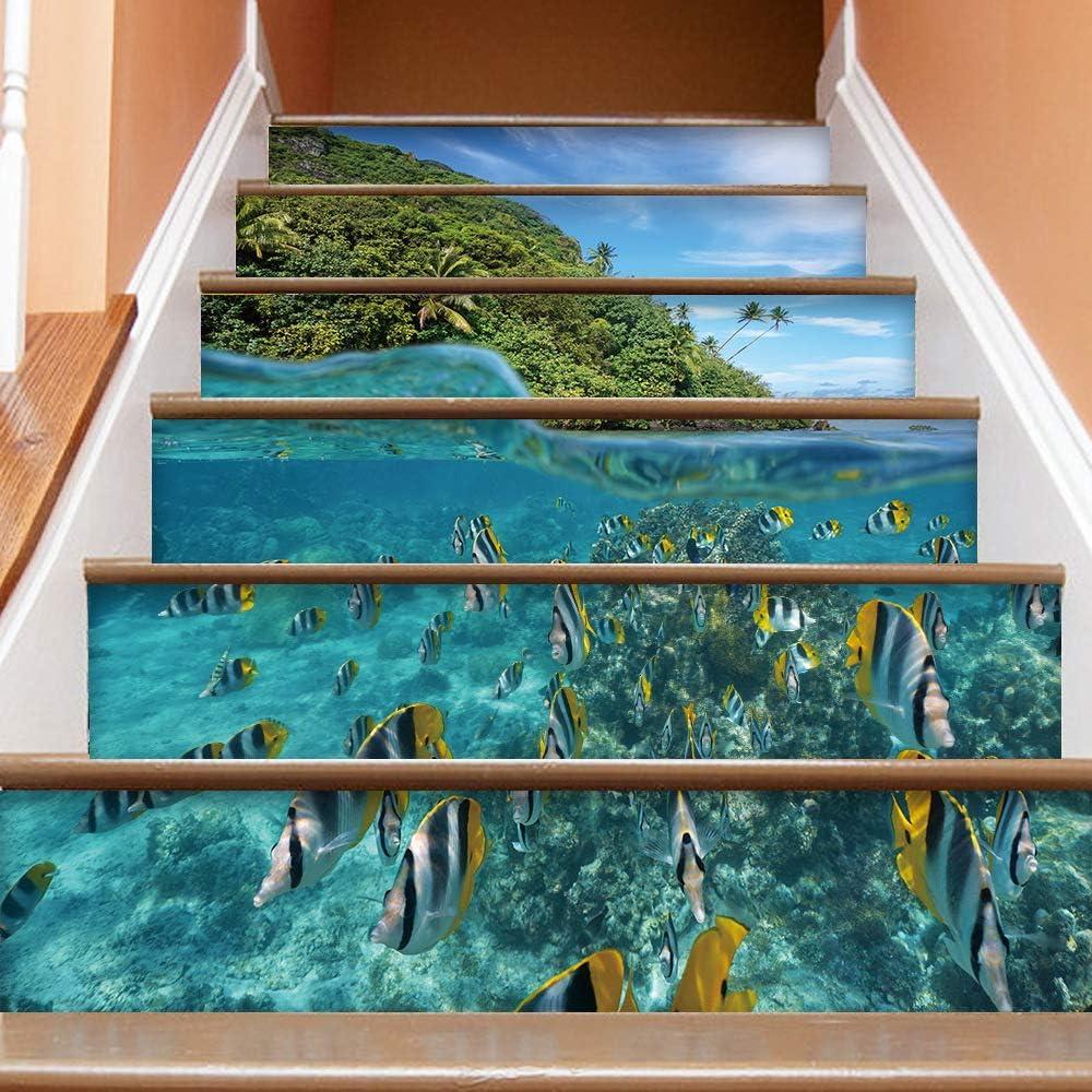 TZQT Etiqueta Engomada De La Escalera 3D Papel Pintado Desmontable del Arte De DIY Impermeable Respetuosa del Medio Ambiente,A-100CM*18CM: Amazon.es: Hogar