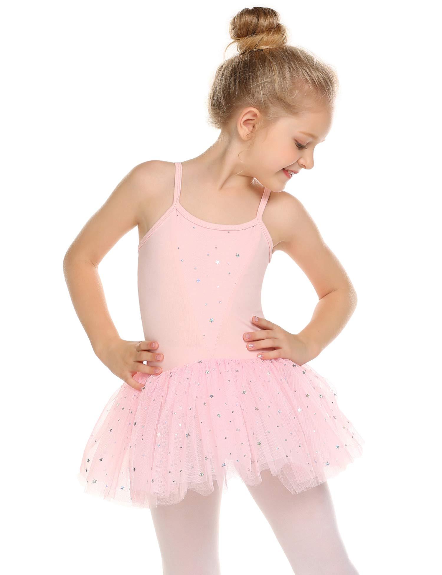 Zaclotre Girls Glitter Camisole Strap Tutu Ballet Leotard