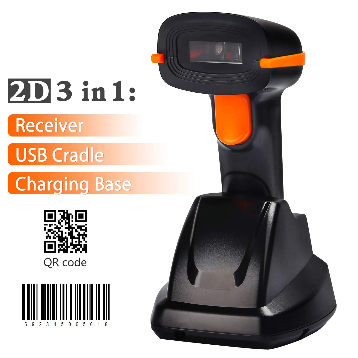 Amazon com : Tera Wireless Barcode Scanner 1D 2D with USB Cradle