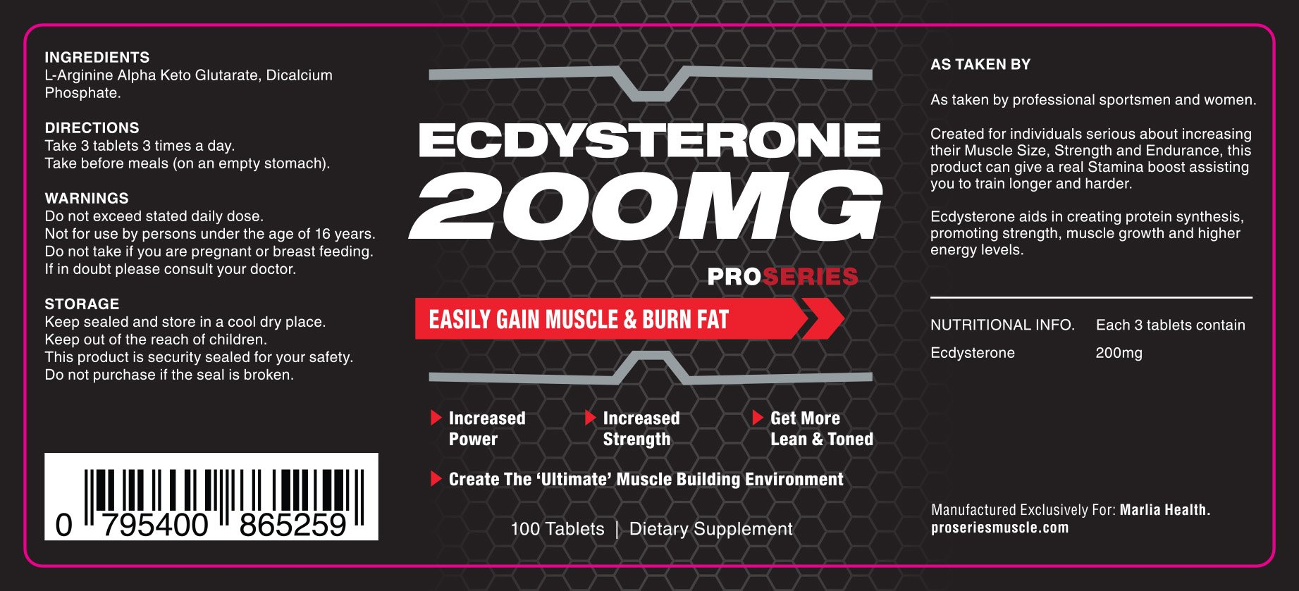 ProSeries Ecdysterone 200MG Muscle Gain and Growth Supplement - 100 Tablets - Buy Online in UAE