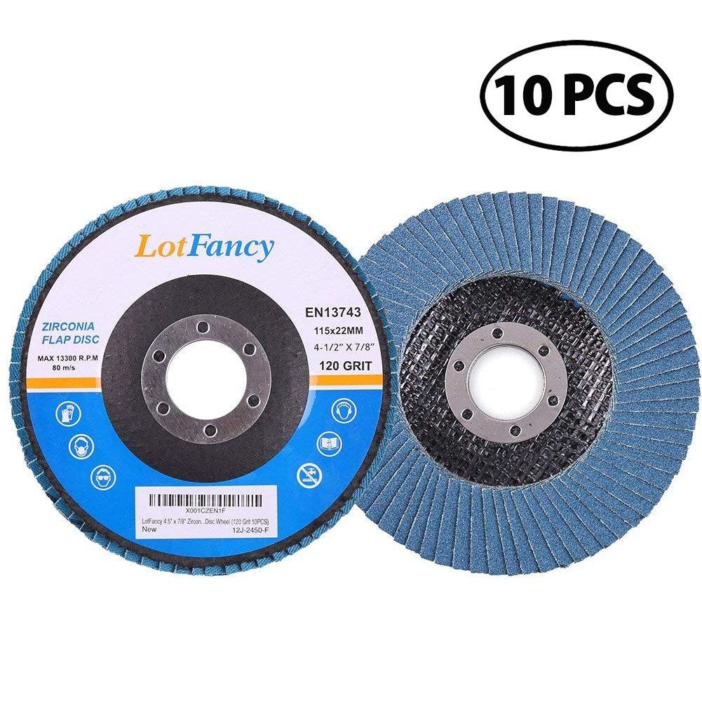 120 Grit Sanding Flap Discs by LotFancy, 4.5 Inch Zirconia Alumina Abrasive Grinding Wheel, Pack of 10