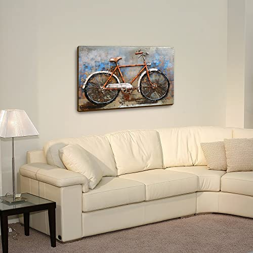 Asmork 3D Metal Art – 100 Handmade Metal Unique Wall Art – Stereograph Oil Painting – Home Decor – Ready to Hang Sculpture Artwork Bicycle 30 x 20 inch