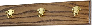 "product image for PegandRail Oak Coat Rack with Solid Brass Single Style Hooks (Walnut, 15"" x 3.5"" with 3 Hooks)"