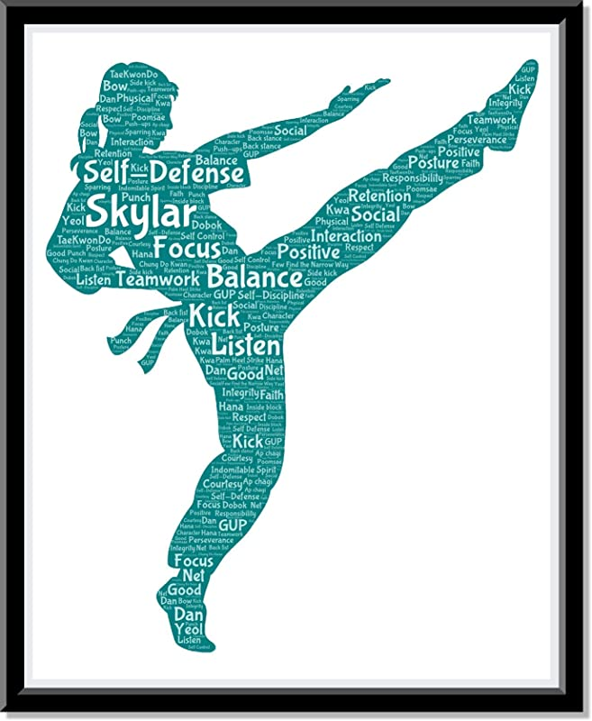 Karate Poster Girls Wall Art, Personalized Martial Arts Print Decor, Kung Fu gifts for her, Birthday Gifts for girls, Word Art Typography Woman Fighting Pose, Custom Print for Wall Decor…