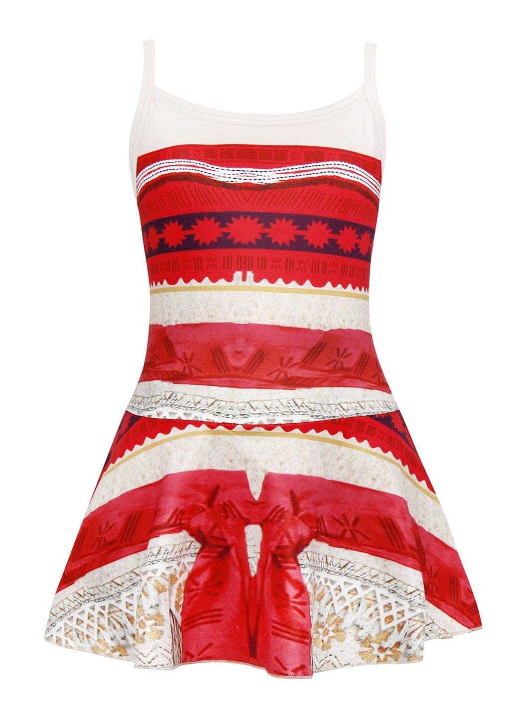 Cotrio Summer Princess Moana Swimsuit Little Girls Swimwear One-Piece Beach Bathing Suit Size 6 (One-Piece Swimwear)