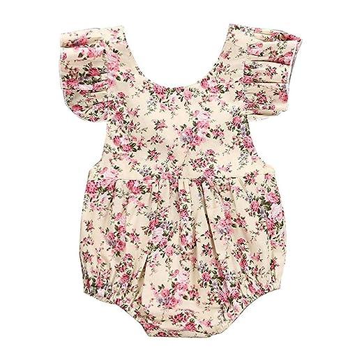 9f8585196e8 Colorfog Infant Baby Girls Romper Floral Bodysuit Sunsuit Summer Clothes  Outfits Beige Floral (0-