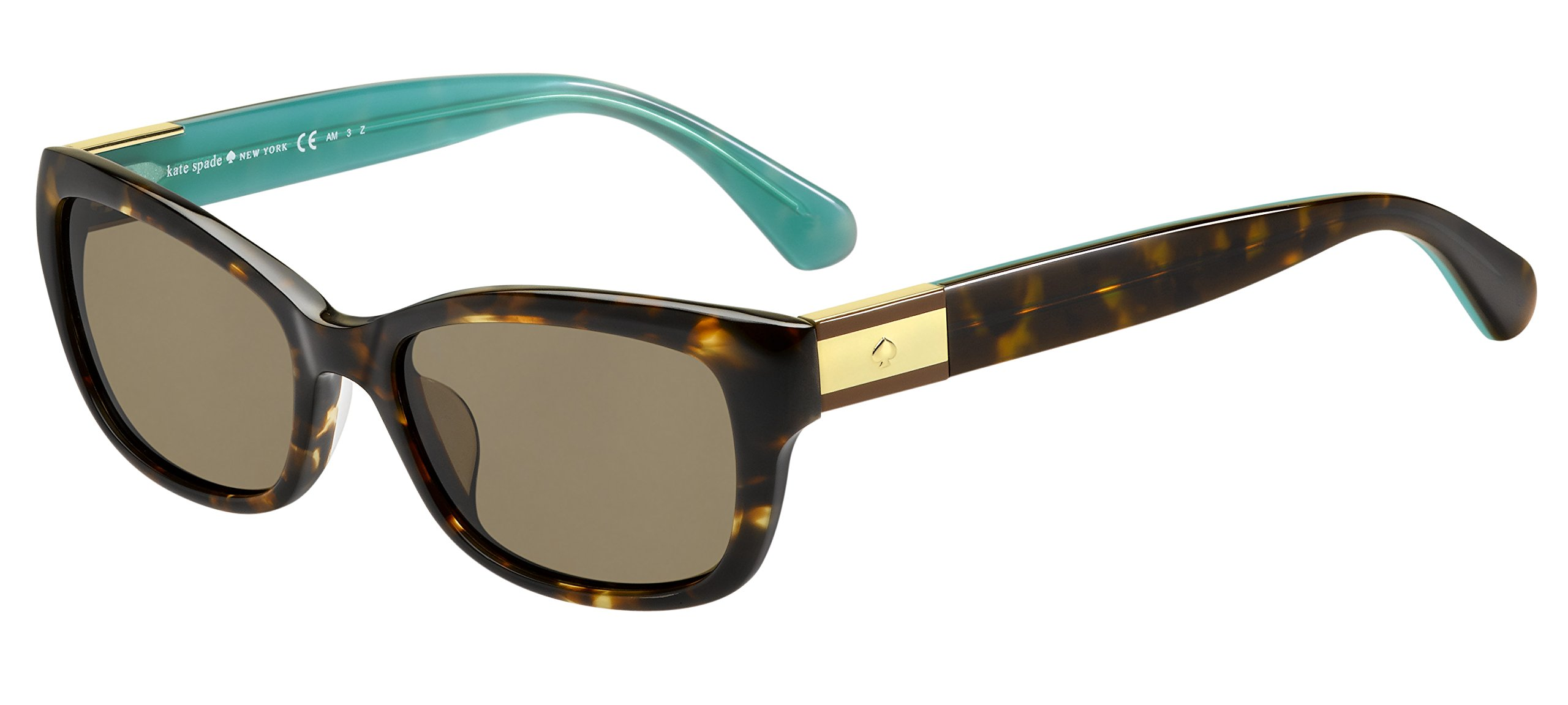 Kate Spade Women's Marilee/p/s Polarized Rectangular Sunglasses, Havana Turquoise/Bronze Polarized, 53 mm