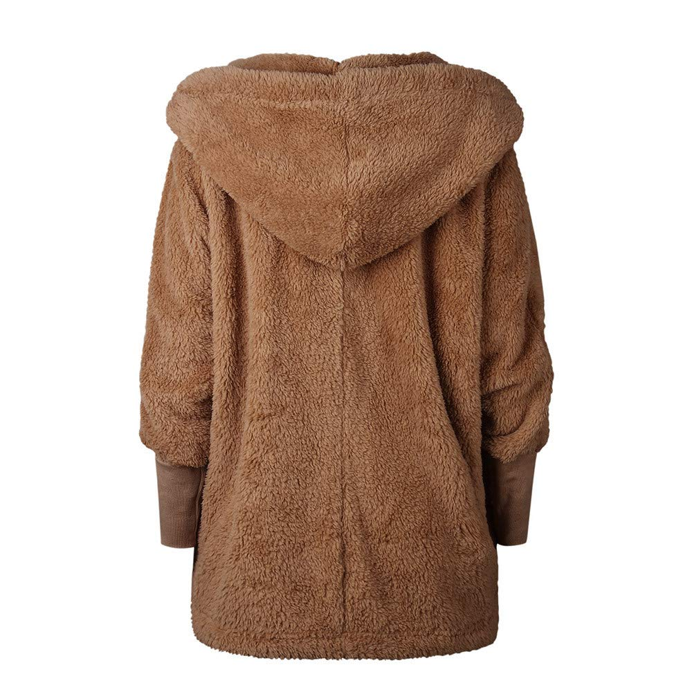 Amazon.com : aliveGOT Womens Furry Open Front Hooded Cardigan Jacket Coat Outwear with Pocket (S, Khaki) : Beauty