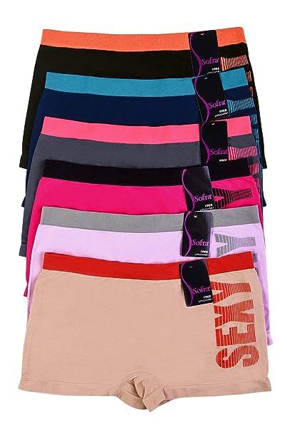 WS Sofra Women s Seamless Boyshorts Panties Stretchy ff693819cee