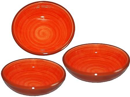 Handmade Round Ceramic Tapas Serving Bowl x 3 Rameado Verde