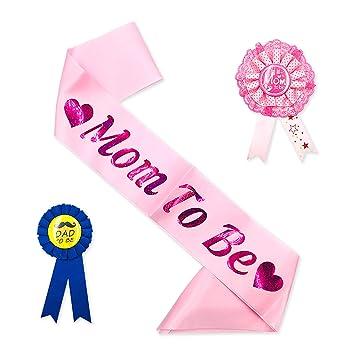 Amazon.com: Kit de insignias para baby shower, color rosa ...
