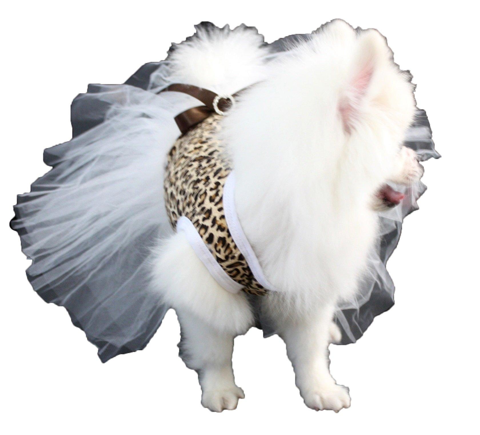 Puppy Clothes Dog Dress Leopard Cotton Top White Tutu Animal Wear (Medium)