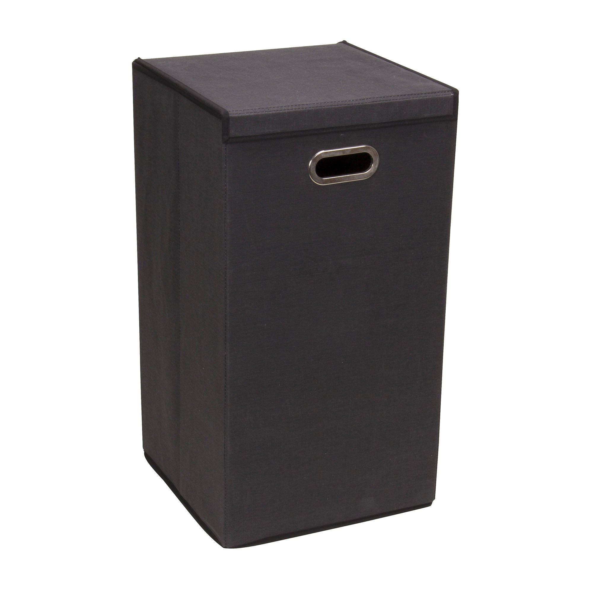 Household Essentials 5616-1 Collapsible Single Laundry Hamper with Magnetic Lid - Black by Household Essentials