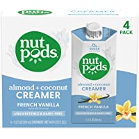 nutpods French Vanilla, (4-Pack), Unsweetened Dairy-Free Creamer, Made from Almonds and Coconuts, Whole30, Gluten Free…