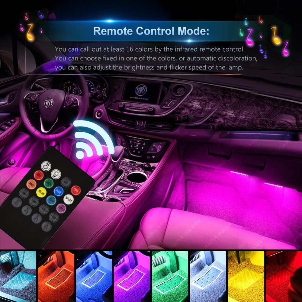 Sound Active Function Wsiiroon Newest Style Remote and APP Control Car Interior Lights DC 12V Infinite DIY Colors Upgrated 16 Fixed Colors New Type Lamp Strip Car LED Strip Light
