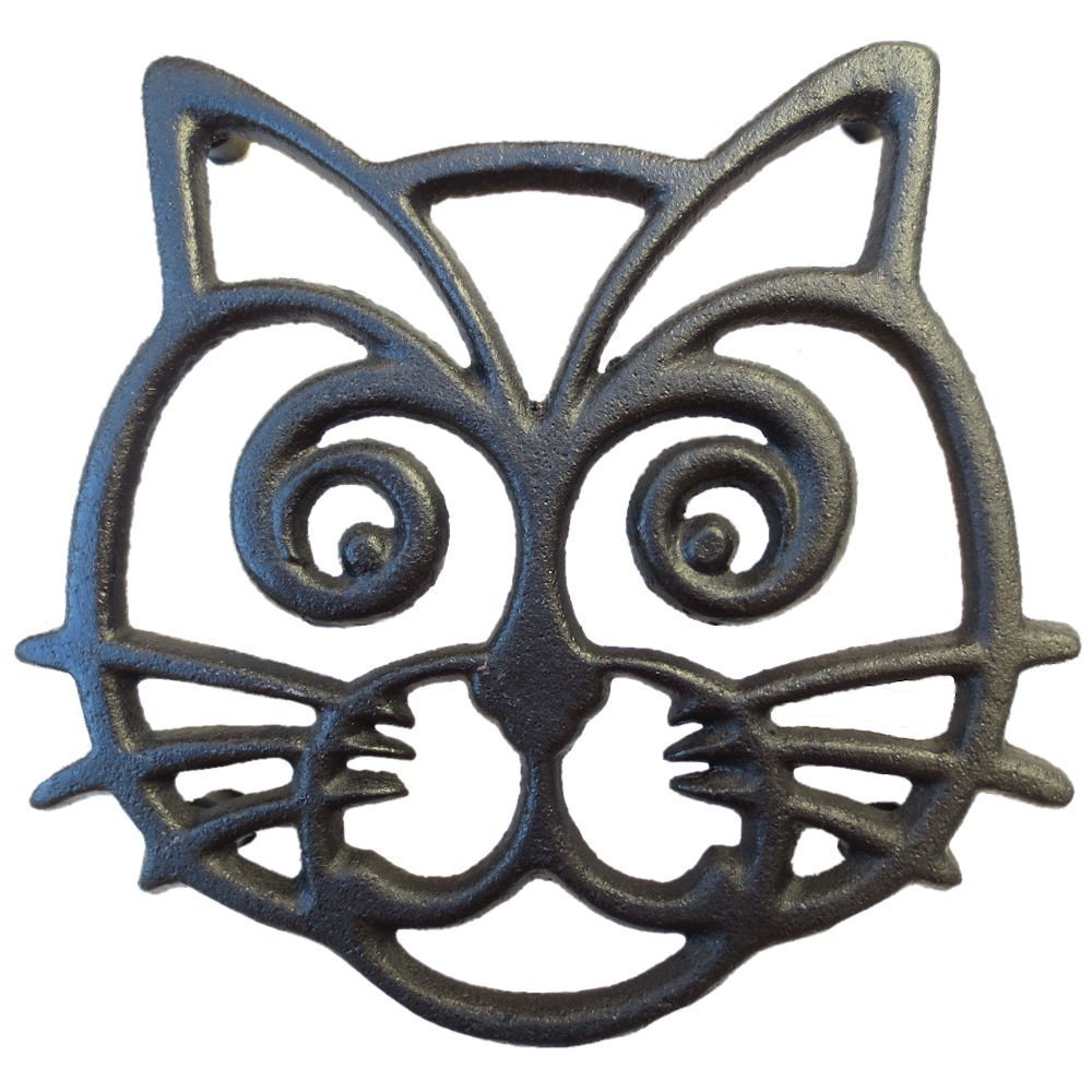Cat Trivet - Black Cast Iron - for Kitchen & Dining Table - More Than One Makes a Set for Counter, Wall Art or Decoration Accessory - Housewarming & Cat Lover Gifts - 6.6 by 6.3 in by Cara's Casa