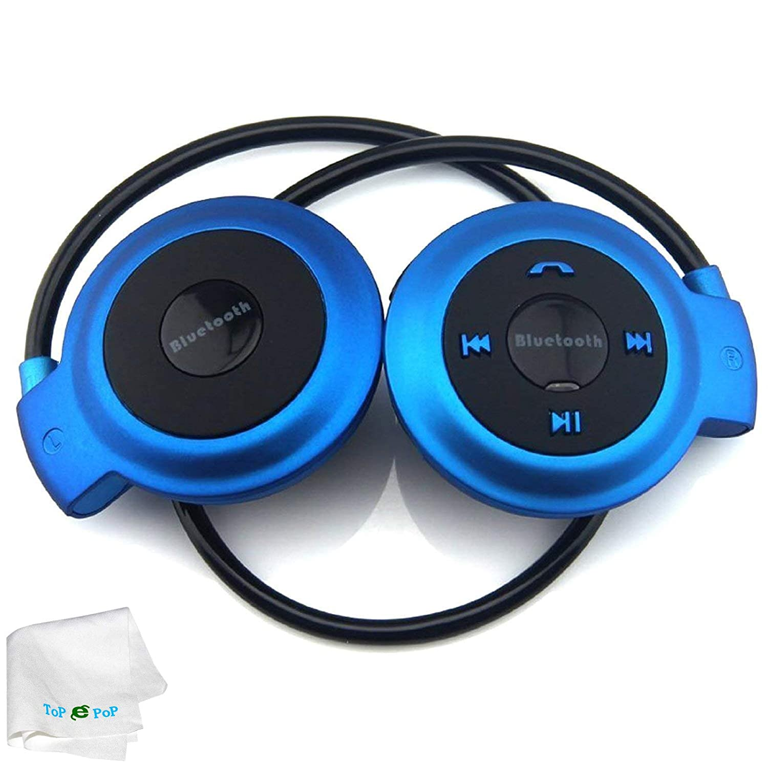 Sports Bluetooth Headset Wireless Stereo Bluetooth Earpiece Earphones Music Headphone Built-in Microphone Mp3 Fm Player Compatible with Android Ios Cellphones Smart Phones Driving Running Hiking Blue
