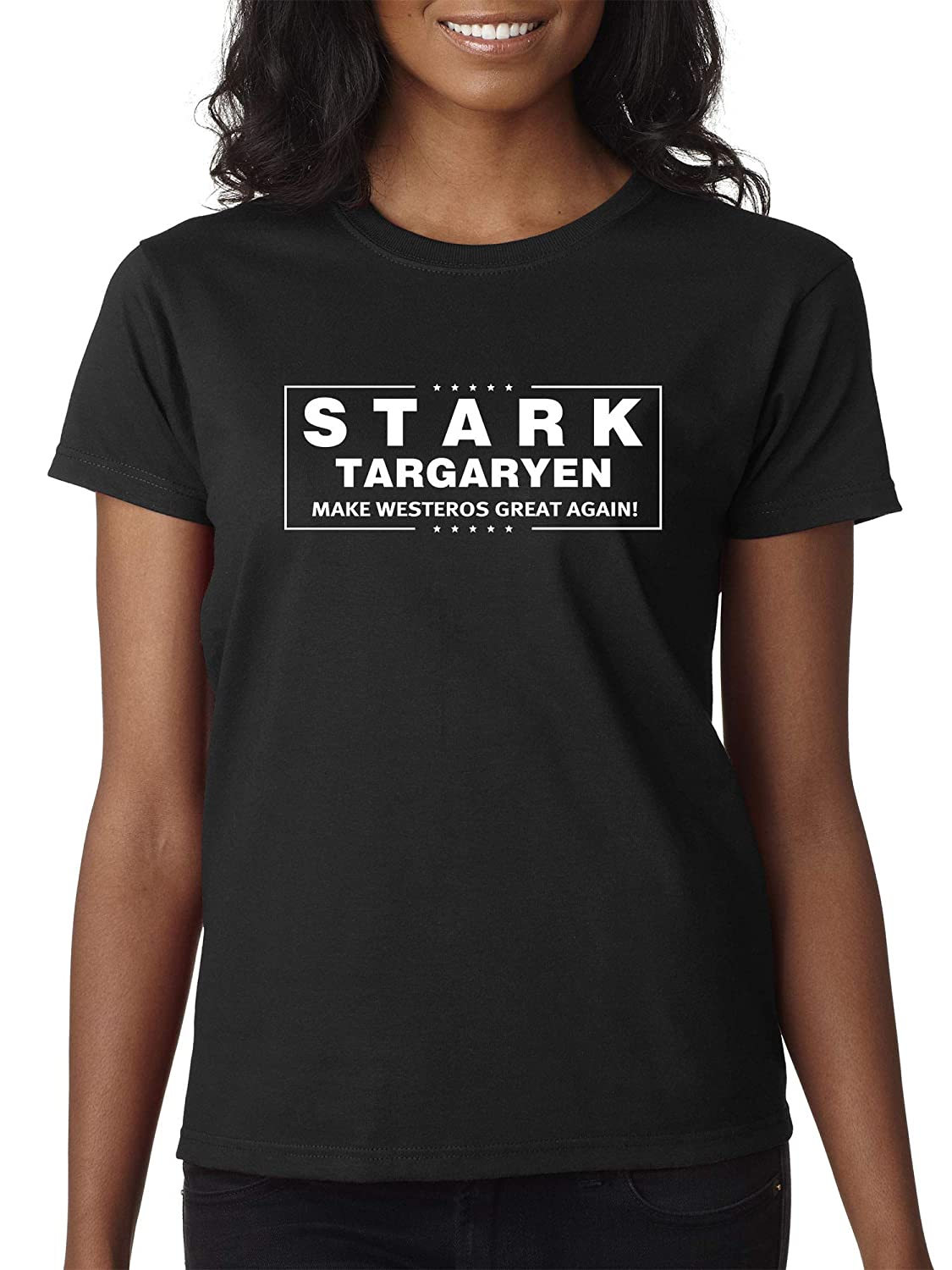 Black Trendy USA 775  Women's TShirt Stark Targaryen Game of Thrones Election