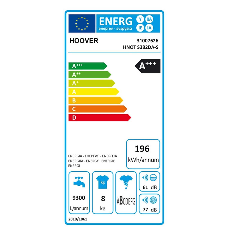 Hoover HNOT S382DA-S Independiente Carga superior 8kg 1200RPM A+++ ...