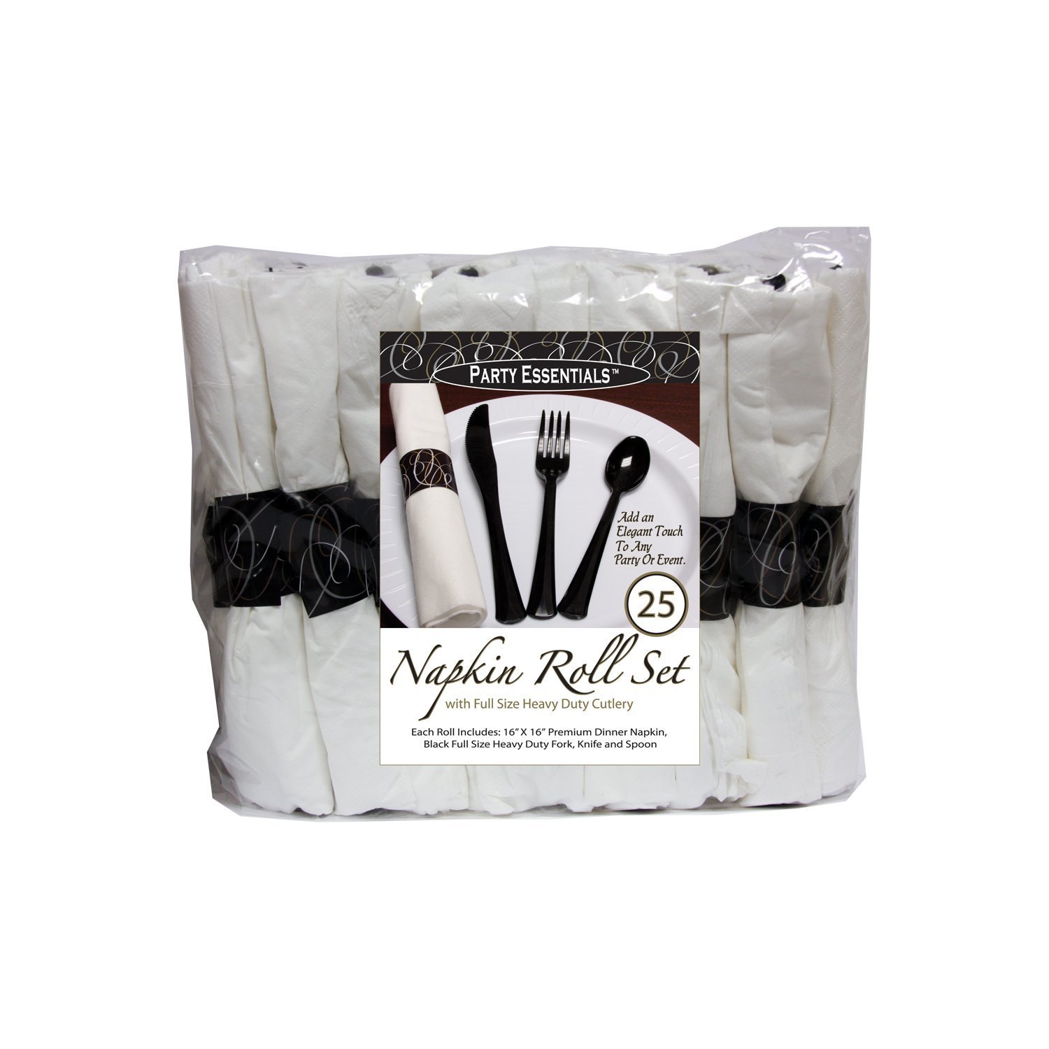 Party Essentials N501732 Napkin Rolls with Extra Heavy Duty Cutlery BlackWhite 25 Roll Count