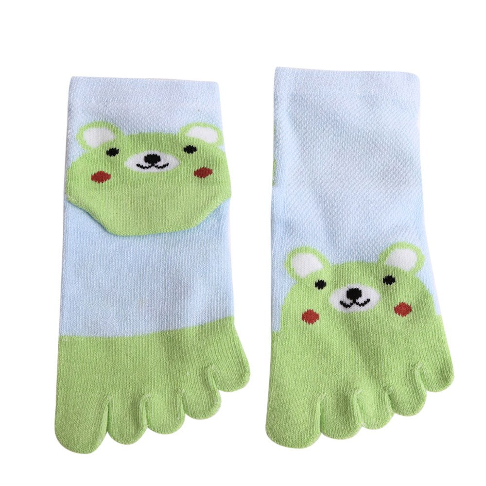 Lenfesh Kleinkind Baby Kinder M/ädchen Junge Bunte f/ünf Finger Zehensocken Rutschfeste Anti Skid Cartoon Tier f/ünf Finger Socken