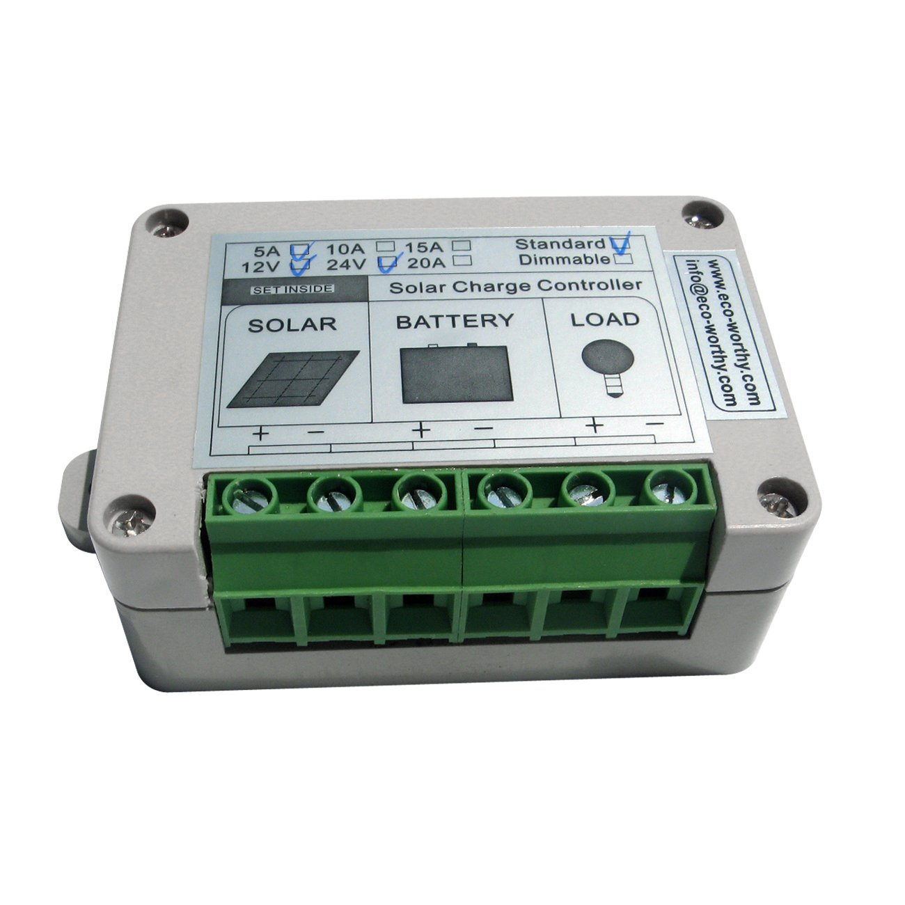 Eco Worthy 15a Pwm Solar Panel Charge Controller 12v 10a 12v24v Automatic Art Of Circuits 24v Battery Regulator Garden Outdoor