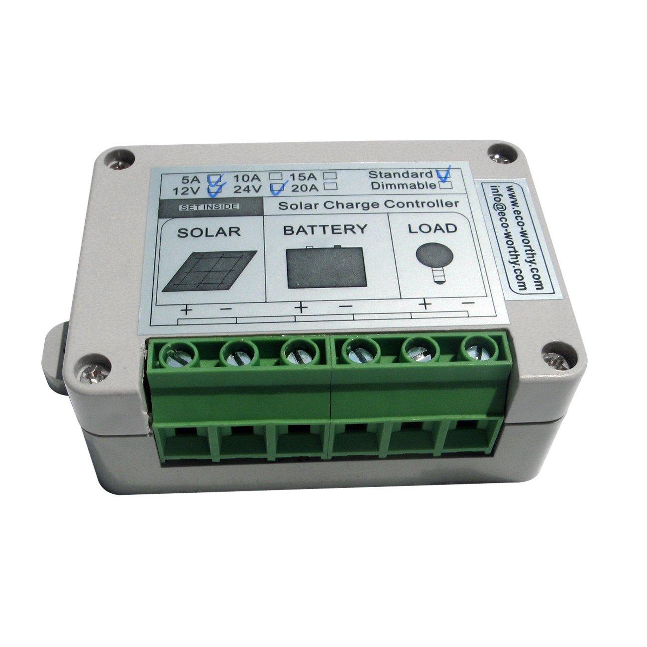 ECO-WORTHY 15A PWM Solar Panel Charge Controller 12V/24V Battery Regulator