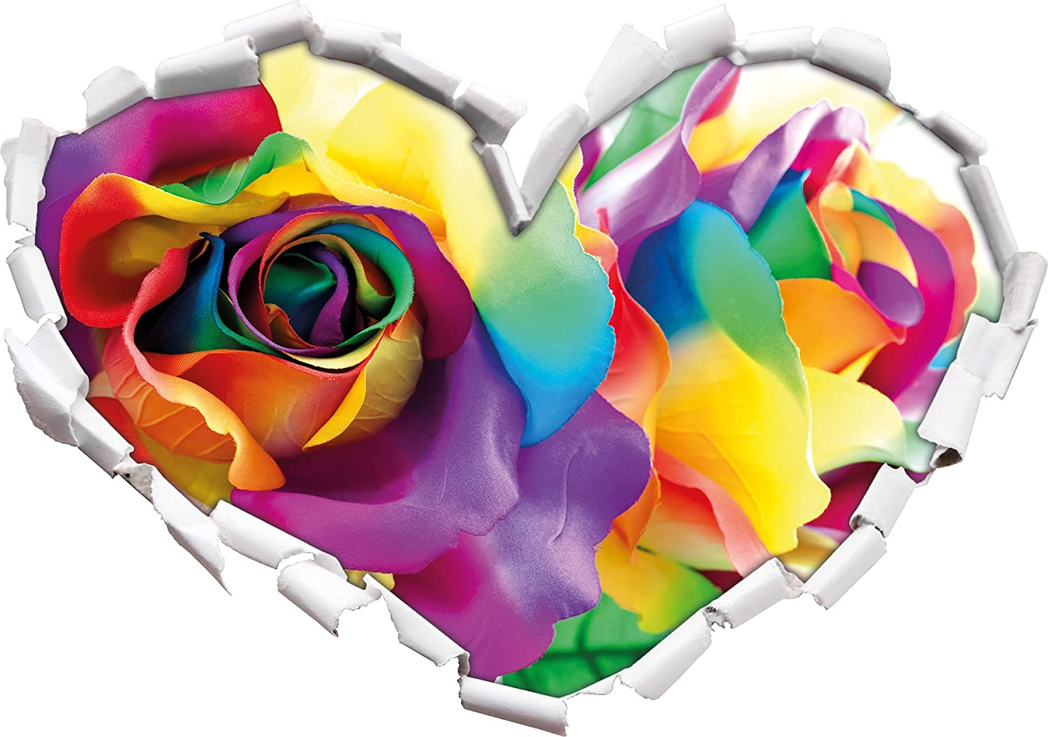 Colourful roses heart shape in the 3D look, wall or door sticker Format: 62x43.5cm, Wall Stickers, Wall Decals, Wall decoration Stil.Zeit