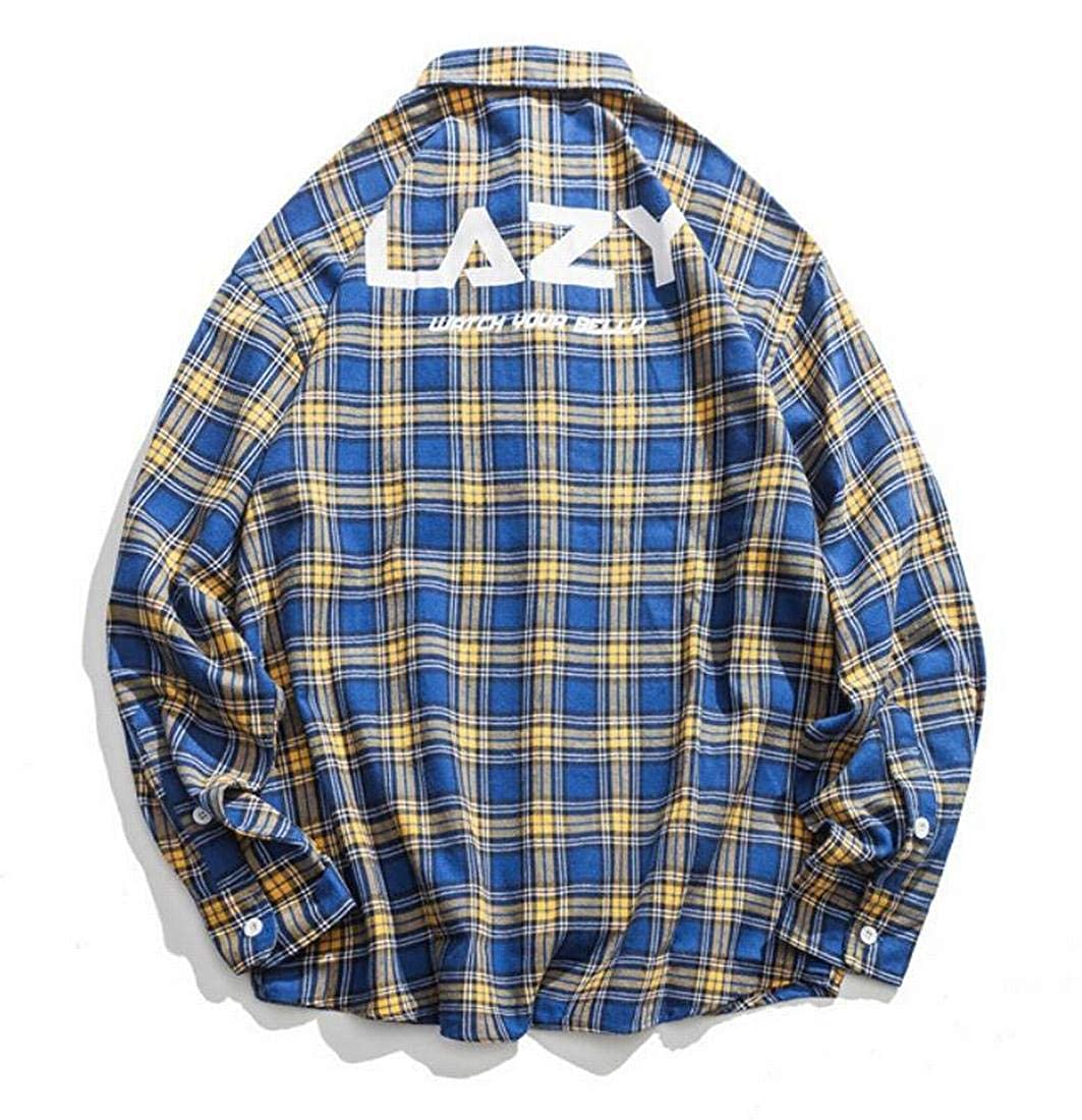 X-Future Mens Long Sleeve Button Front Loose Fit Letter Print Plaid Print Dress Western Shirt
